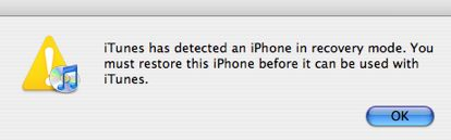 iTunes Recovery Message
