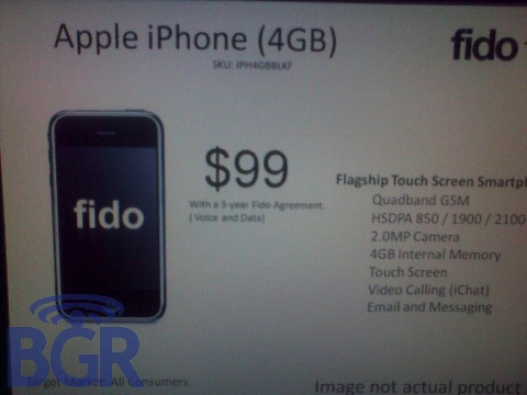 $99 4GB iPhone, Fido