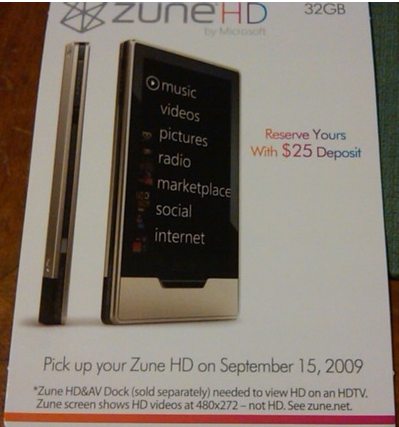 Zune HD Best Buy Displayer