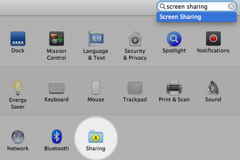 System Preferences – Sharing