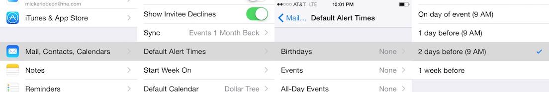 Birthday Reminders