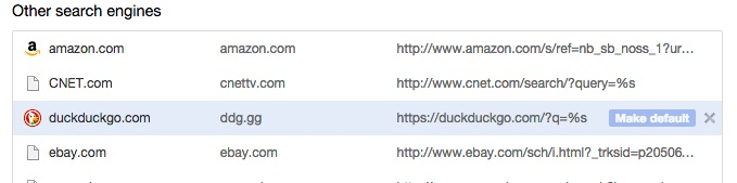 DuckDuckGo Default Chrome
