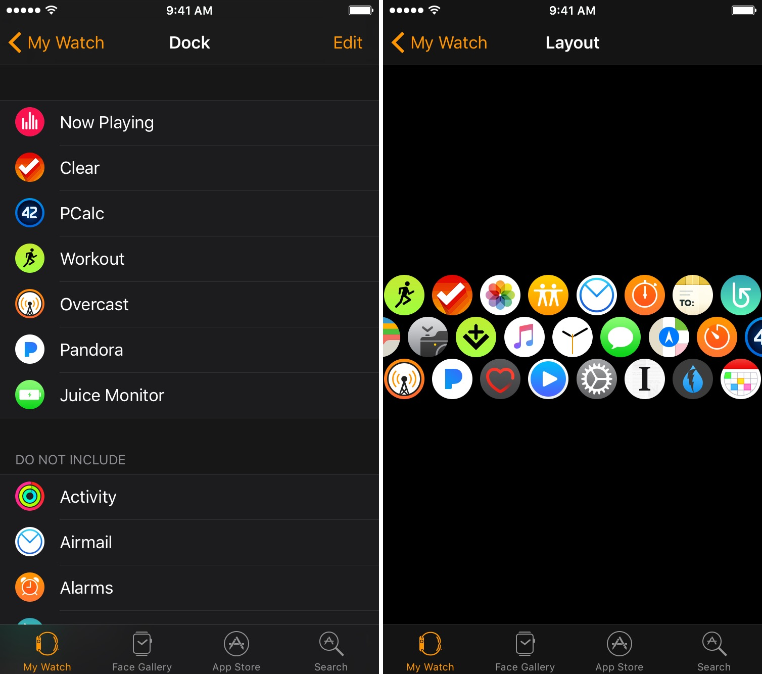 Apple Watch Dock and App Layout
