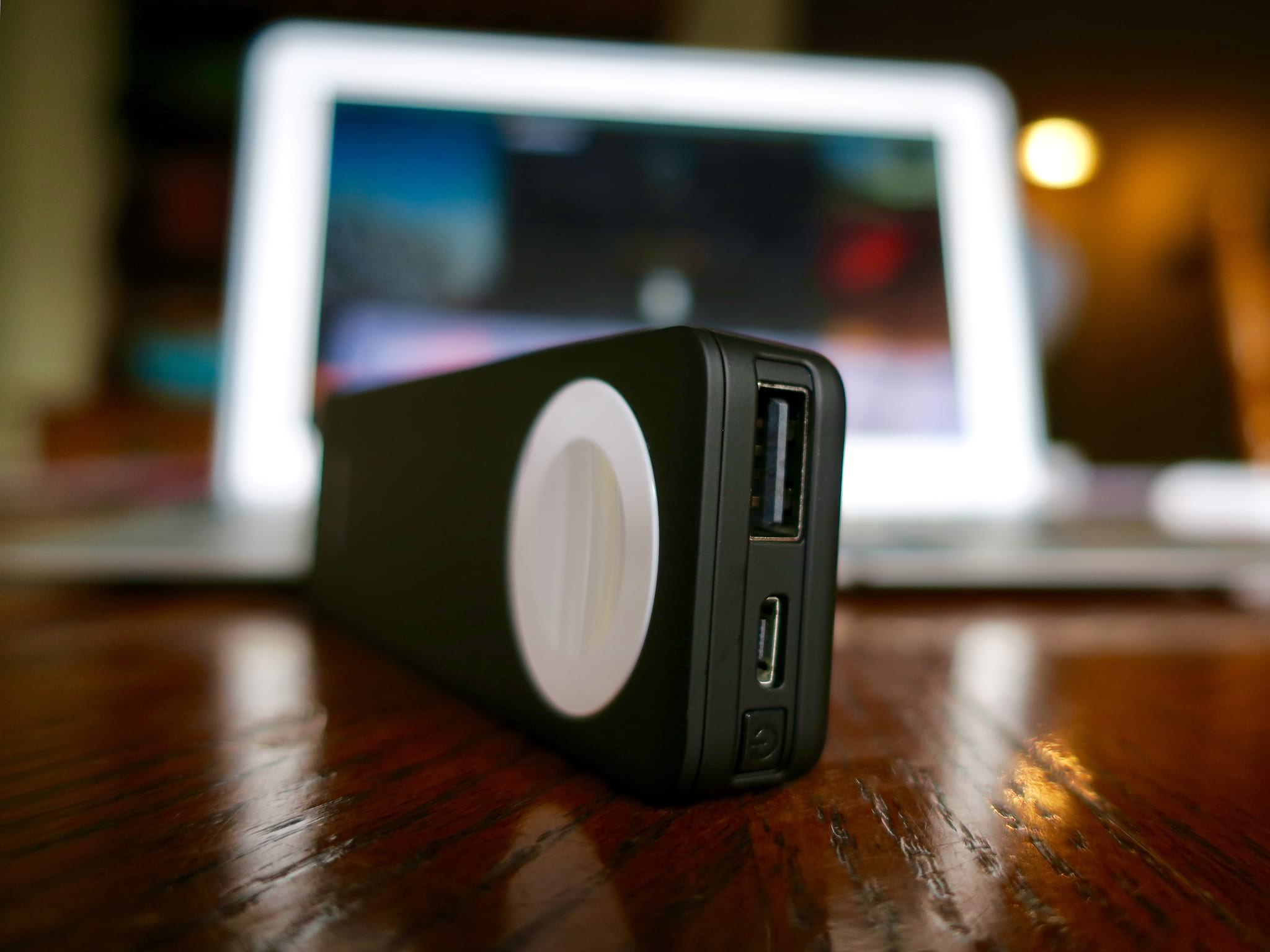 Zens Power Bank's Power Button, USB, and Micro-USB Ports