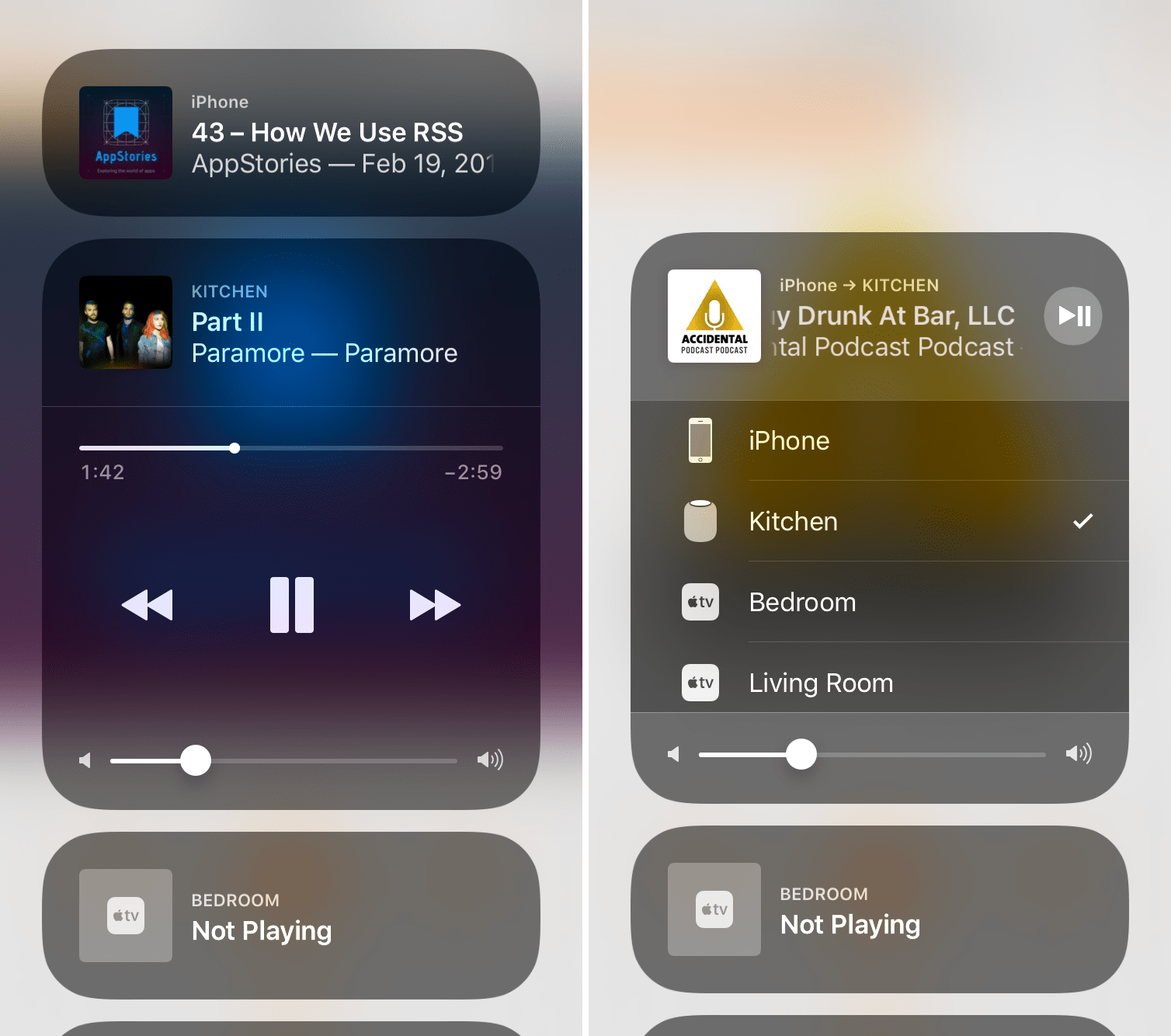 HomePod in Control Center and AirPlay